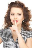 Finger auf die lippen — Stockfoto