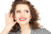 Ouvir fofoca mulher — Fotografia Stock