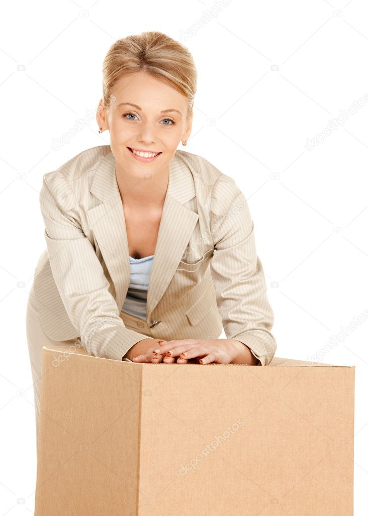 Picture of attractive businesswoman with cardboard box  Stock Photo #7705961