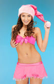 Cheerful santa helper girl in lingerie — Stock Photo