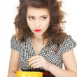 Lovely housewife with cup — Stock Photo