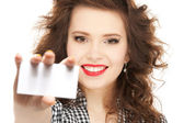 Woman with business card — Stok fotoğraf
