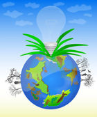 Vector Globe & Bulb — Stock Vector
