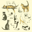 Royalty-Free Stock Imagen vectorial: Vintage cats.