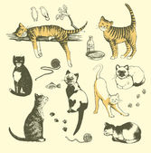 Vintage cats. — Stock Vector