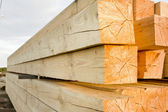 Wooden beams in stacks — Stock Photo