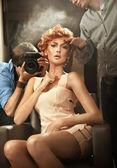 Beauty photoshooting zu feiern — Stockfoto