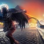 Raven woman running on empty city street — Stock Photo #7466754