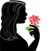 Profile of the girl with rose 2 — Stock Vector