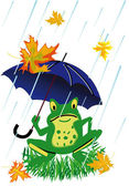 Frog under umbrella — Stock Vector