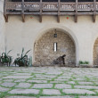 Courtyard in old castle - Stock Photo