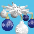 Stock Vector: Blue and silver christmas balls