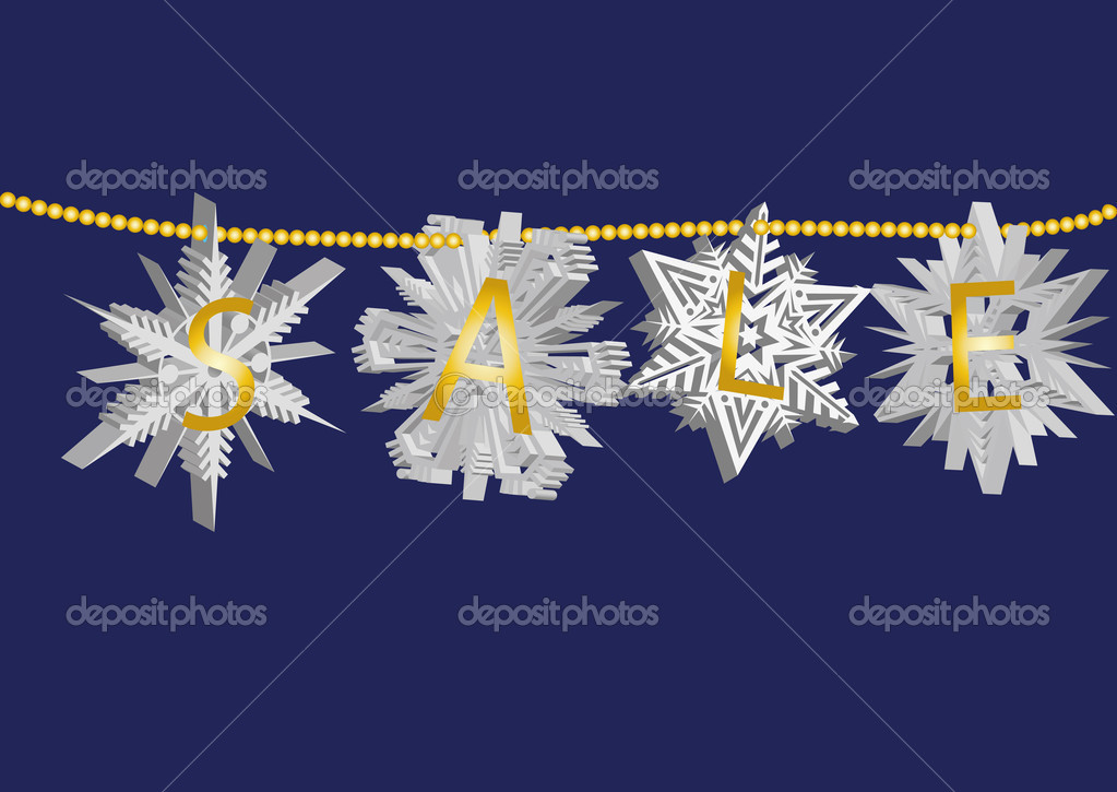 Snowflake sale on blue background  Stock Vector #7565654