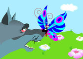 Butterfly sit on nose wolf — Vector de stock
