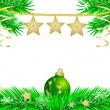 New year's green ball and gold stars — Stockvector
