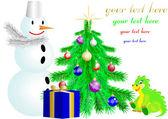 Christmas fir tree and snowman and dragon — Stock Vector