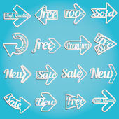 Collection arrows of sale labels stickers and banners — Stock Vector