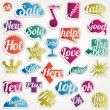 Set bubble vector sticker with text icons symbols — Stock Vector