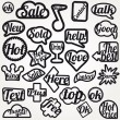 Royalty-Free Stock Vector Image: Set bubble vector sticker with text icons symbols