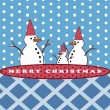 Stock Photo: Snowman's family, Christmas greeting card background