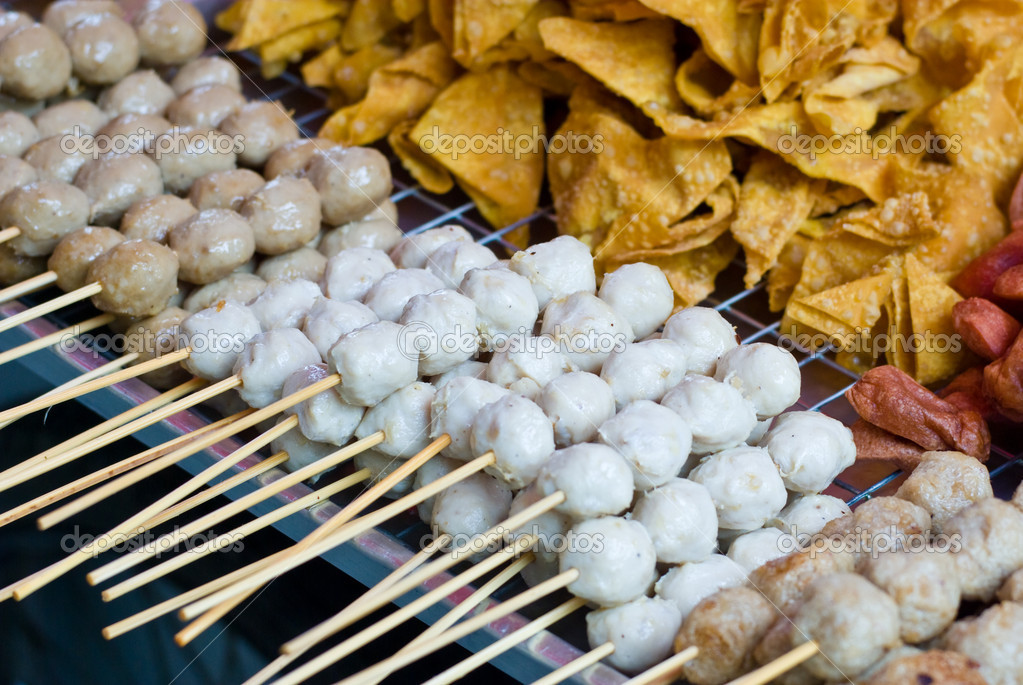 Chicken meat ball with bamboo stick, Thai food in Thailand — Stock Photo #6874757