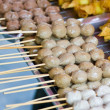 Fried meat ball with bamboo stick, Beef meat ball — Stock Photo