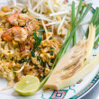 Paad Thai, Native Thai style of fried noodle with egg — Stock Photo