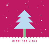 Christmas tree and snow with pink color sky — Stock Photo