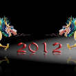 Dragon flying with 2012 year number and black background — Stock Photo