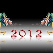 Dragon walking with 2012 year number and black background — Stock Photo