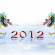 Dragon walking with 2012 year number on glaze background — Stock Photo