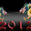 Dragon flying with 2012 year number, Glaze black background — Stock Photo