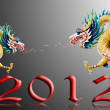 Dragon flying with 2012 and black background - Stock Photo