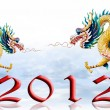 Dragon flying with 2012, Sky and glaze background — Stock Photo #6987613