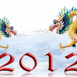 Dragon flying with 2012, Sky and glaze background - Stock Photo