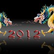 Dragon walk with 2012 year number on glaze black background — Stock Photo