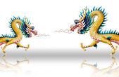 Estatua de dragón caminando sobre fondo de esmalte blanco — Foto de Stock