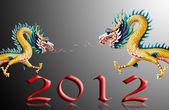Drachen fliegen mit 2012 und schwarzen Hintergrund — Stockfoto