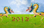 Golden dragon flying over the fields with 2010 year number — Stock Photo