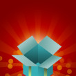 Empty gift box on red background — Lizenzfreies Foto