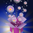 Lotus flower in bubble and gift box — Stock Photo