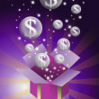 Money bubble flying from gift box with purple color background — Stock Photo