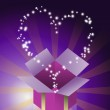 Blessing heart star flying from gift box with purple color background — Stock Photo
