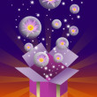 Lotus flower in bubble and gift box, Fun concept — Stock Photo