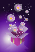 Lotus flower in bubble flying from gift box with purple color background — Stock Photo