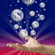 Money bubble flying from hand with red and blue color background — Stock Photo #7156306