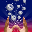 图库照片: Money bubble flying from hand
