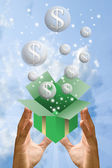 Money bubble flying from gift box with blue sky background — Foto de Stock