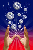Money bubble flying from hand — Stock Photo
