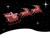 Santa Claus in his sleigh with bright star in the midnight sky — Stock Photo